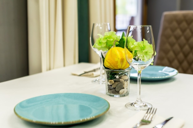 Close up of table setting with glasses and cutlery