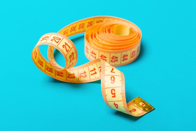 Close up of tangled measuring tape