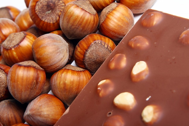 Close up of tasty chocolate with hazelnuts
