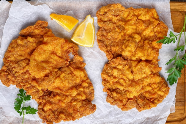 Close-up of tasty hot schnitzel