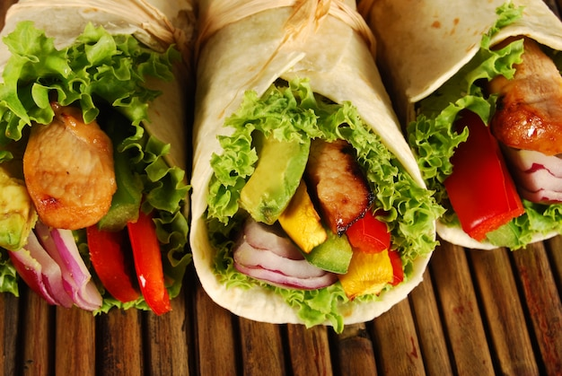 Close-up of tasty wraps