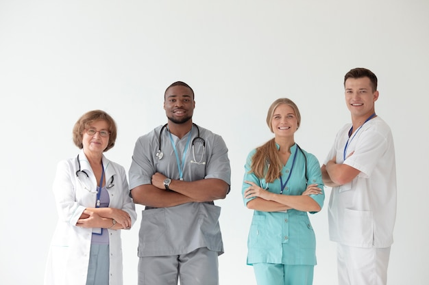Close up on team of health workers