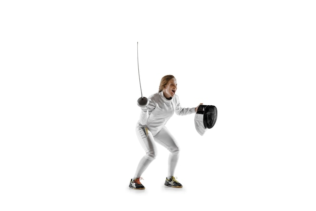 Close up of teen girl in fencing costume with sword in hand isolated on white  background.