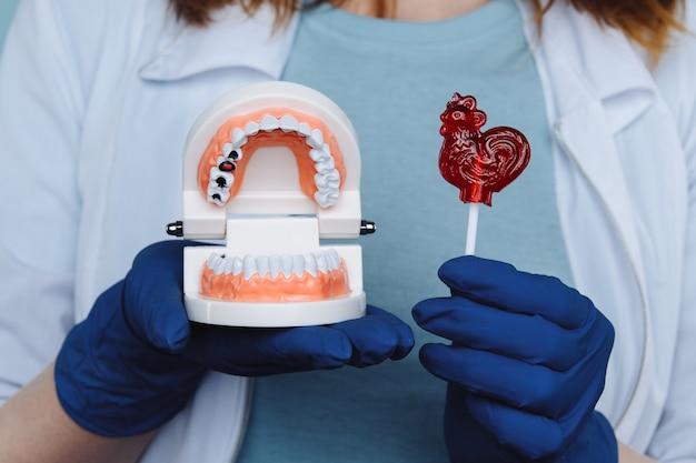 Close up teeth model dentures