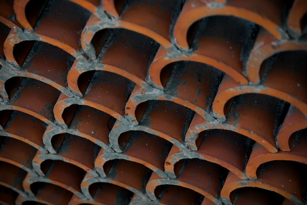 Close-up of terracotta roof tiles