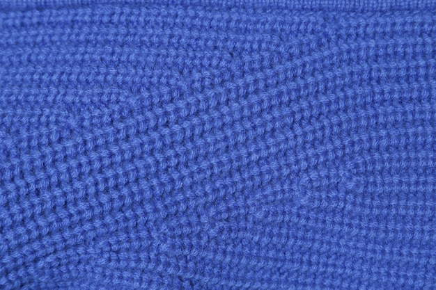 Close-up texture blue knitted wool