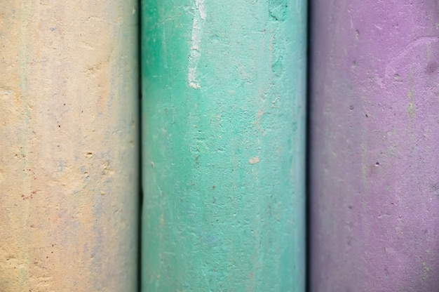 Close-up texture of chalk for drawing multicolored white, pink, blue, yellow, green