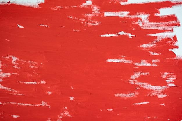흰색 캔버스에 질감 붉은 색 페인트를 닫습니다 배경에 종이 그래픽 디자인을위한 브러시 마크 스트로크