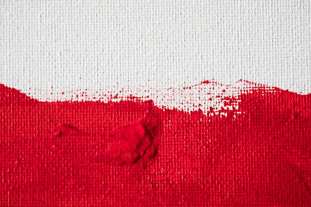 Close up texture red color paint on white canvas