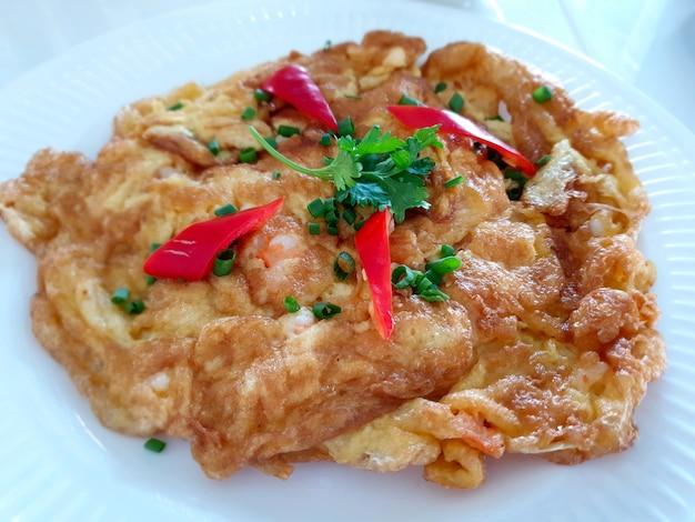 Close up thai style shrimp omelette
