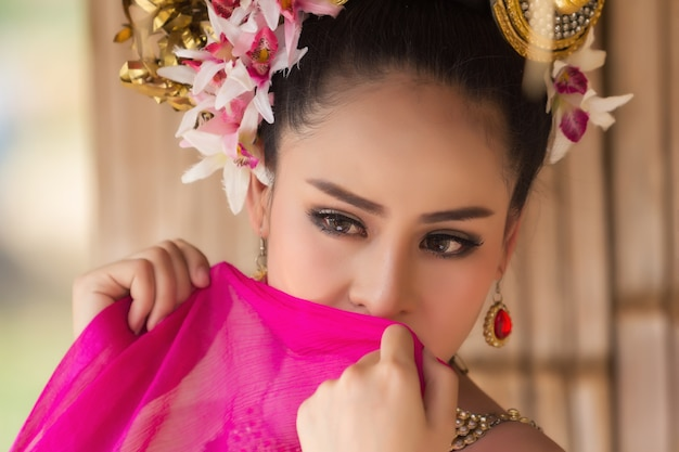 Close up thai woman face wear thai dress