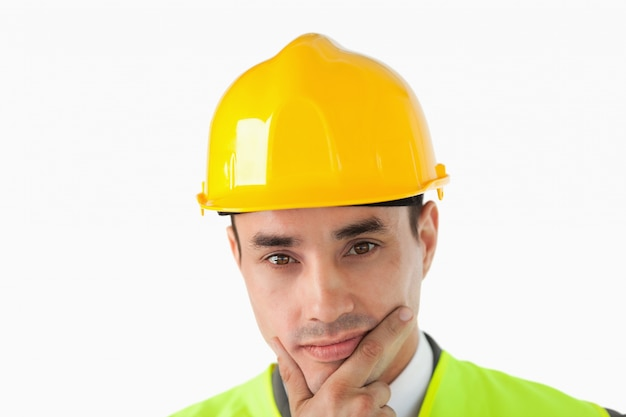 Close up of thinking architect