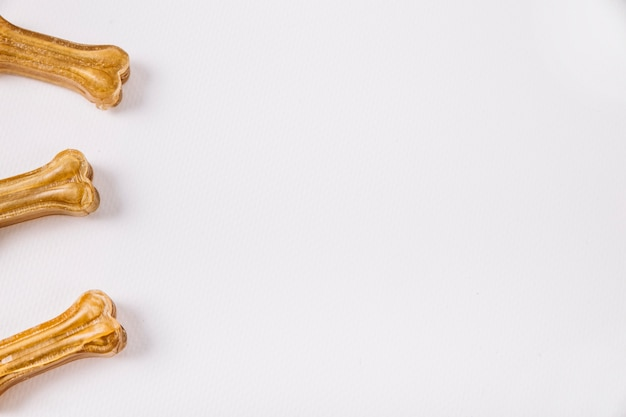 Close-up three chewing bones