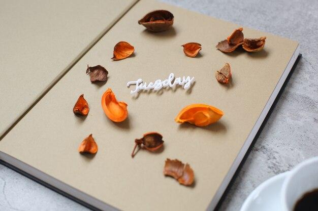 Close up thursday flat lay minimalist autumn concept