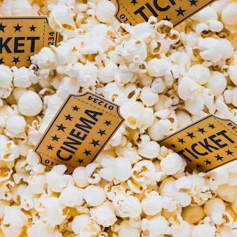 Close-up of tickets in popcorn