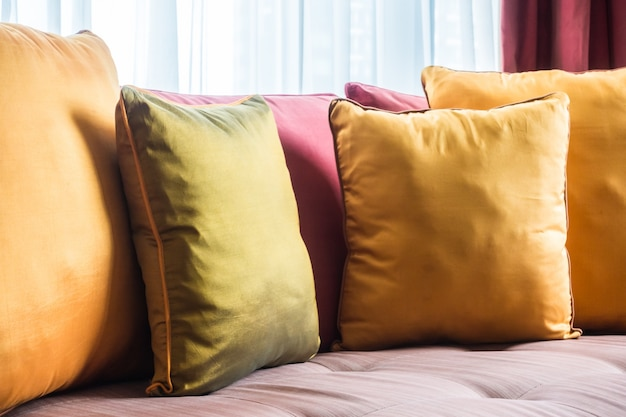 Close-up of tidy cushions