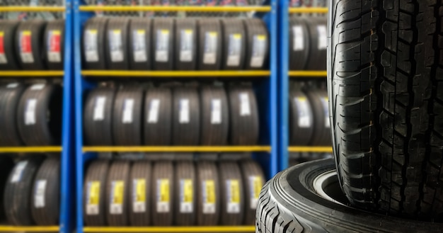 Close up tires  for sell in tires shop Premium Photo