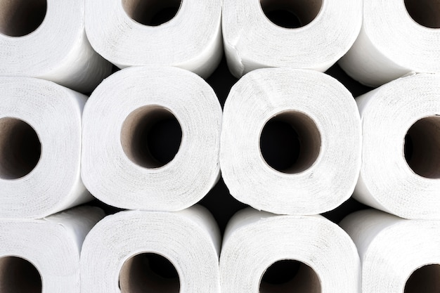Close-up toilet paper rolls