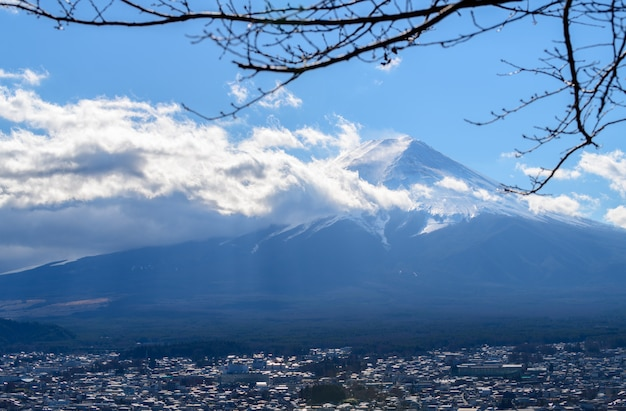 Close up top of beautiful fuji mountain with snow cover