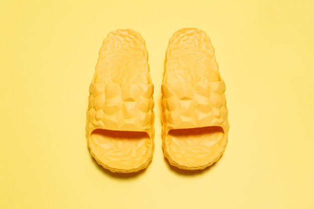 Close-up top view of slippers
