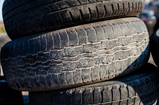 Close up tower of tires Premium Photo