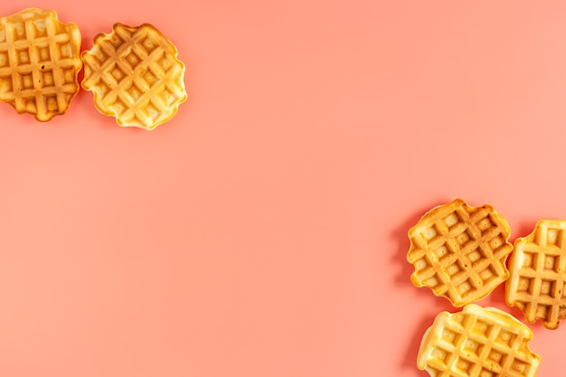 Close-up of traditional belgian waffles