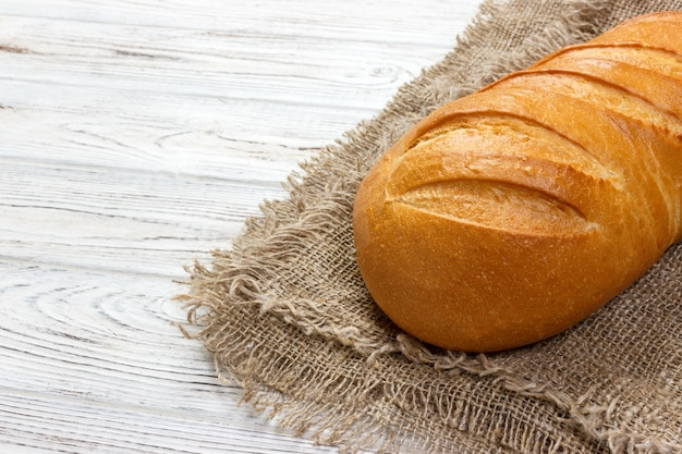 Close-up of traditional fresh bread. top view