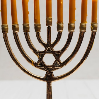 Close-up traditional hebrew candleholder