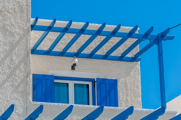 Close up on a traditional house in santorini