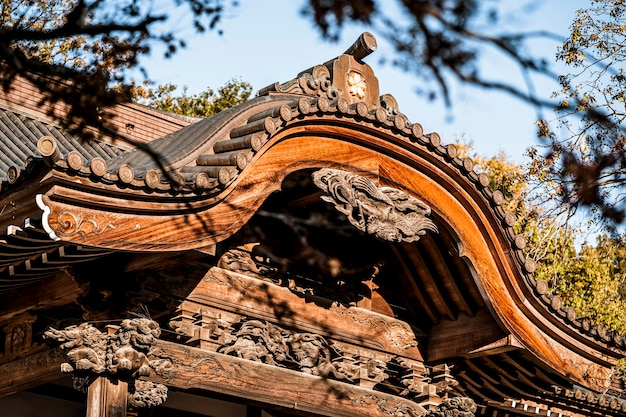 Close-up of traditional japanese wooden structure