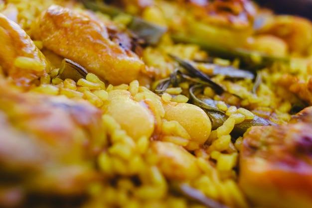 Close-up of the traditional paella valenciana mediterranean dish