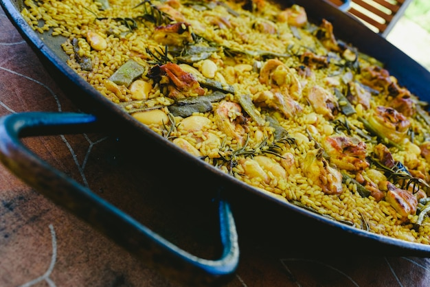 Close-up of the traditional paella valenciana mediterranean dish