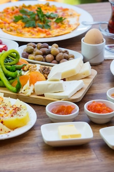 Close-up of traditional turkish breakfast
