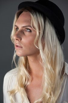 Close up of transgender woman looking away