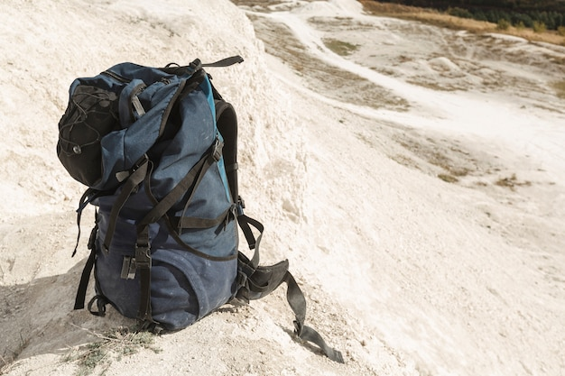 Close-up traveler backpack outdoor