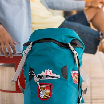 Close-up of a travelling backpack