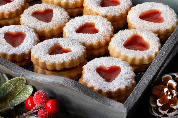 Close-up on a tray of traditional christmas linzer cookies