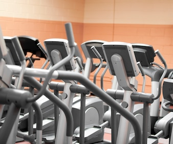 Close-up of treadmills in a fitness centre