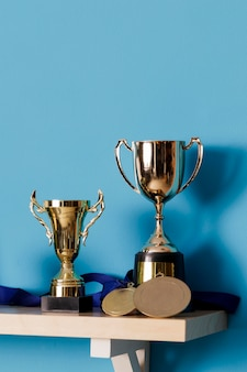 Close-up trophies on a shelf