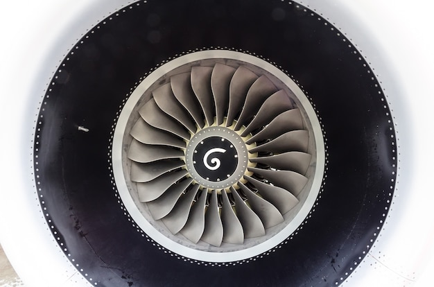 Close up of a turbofan jet engine in modern airplane.