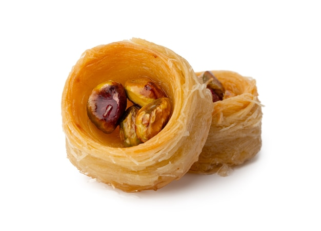 Close up of turkish dessert baklava isolated on white
