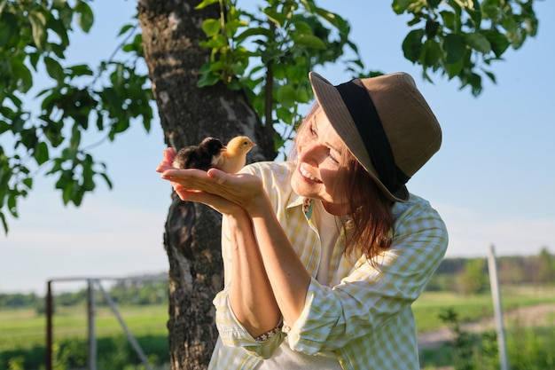 Close up of two baby chicks in woman hand. newborn chickens yellow and black together, sky nature background