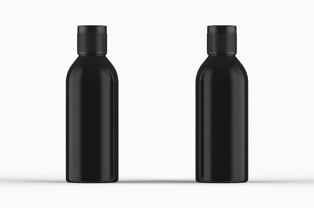 Close up of two black bottles standing 3d render mockup