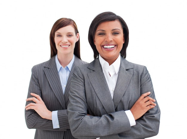 Close-up of two business women
