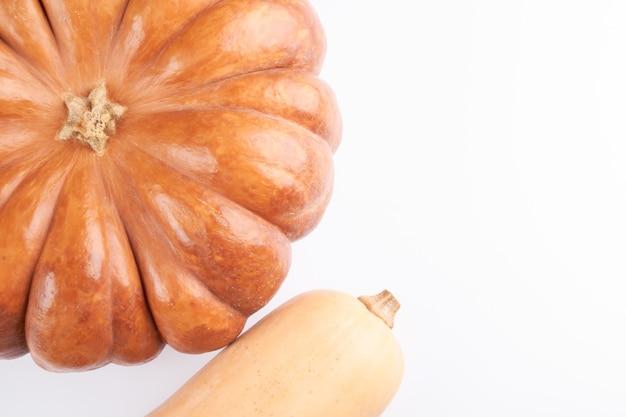 白い食べ物の背景に分離された2つの異なる生のオレンジ色のカボチャのクローズアップ