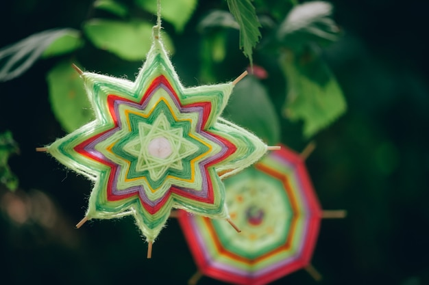 Close-up of two hand made mandalas of woolen threads hanging on tree branches in the autumn forest
