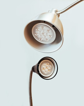 Close-up of two led lamps