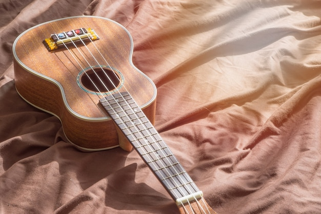Close up ukulele on wooden background
