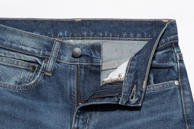 Close up of unbuttoned jeans