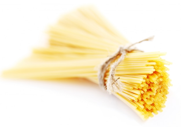 Close up of uncooked spaghetti